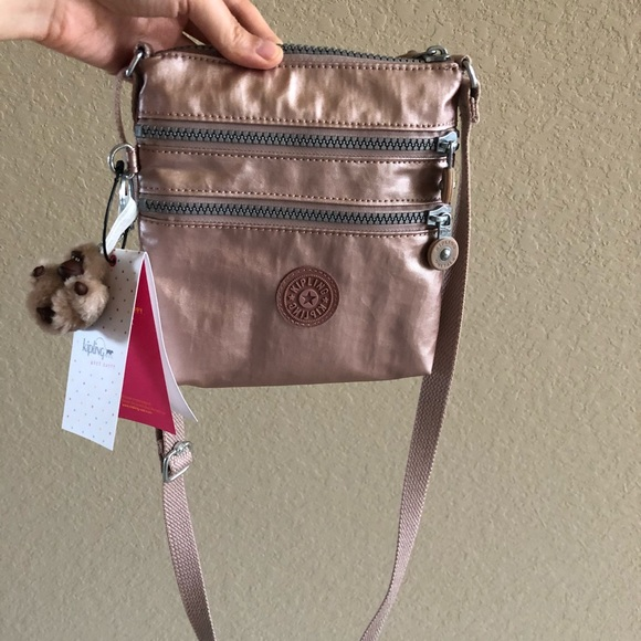 ce9ccba4cbbae Kipling Alvar XS Metallic Mini Bag color Rose Gold